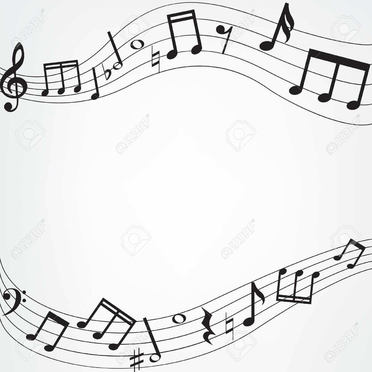 Musical notes staff background on white vector by tassel78 image - Sheet Music Background With Music Notes Border