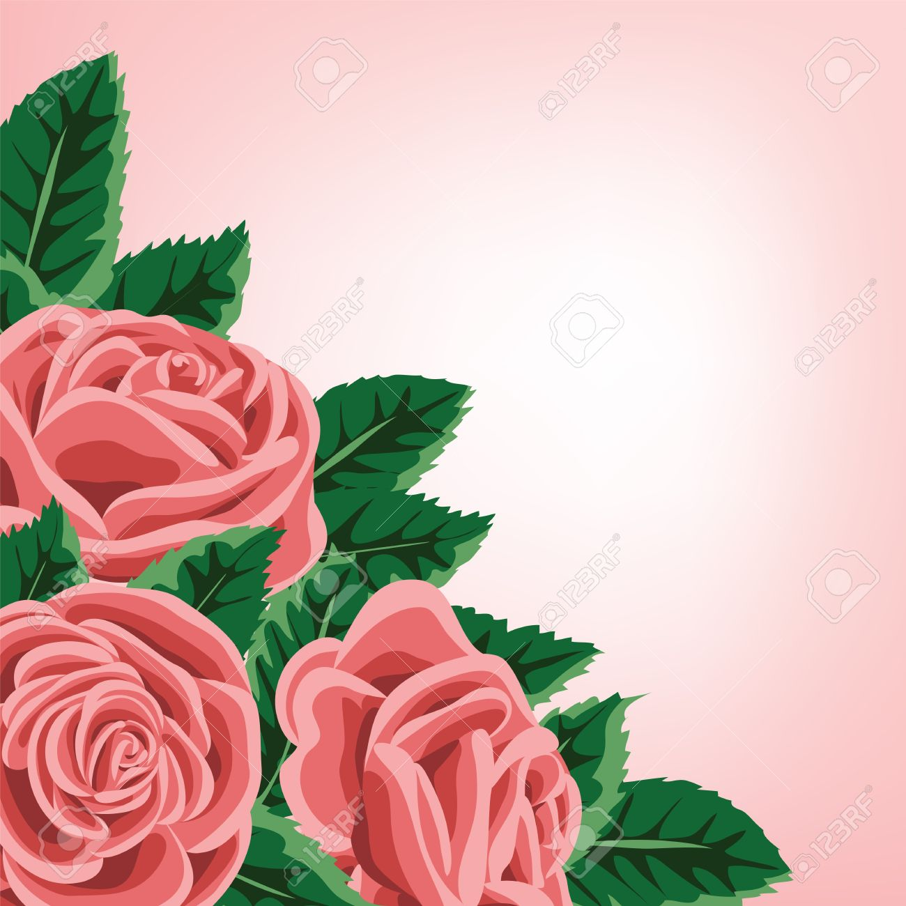 template for wedding invitation or greeting card with roses