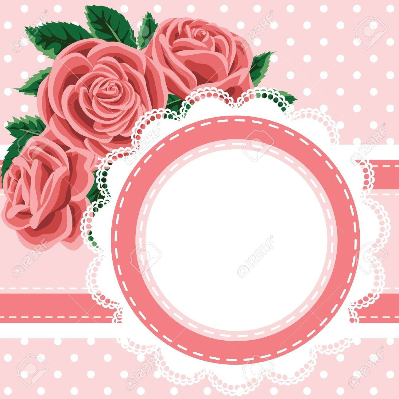 Invitation, greeting card with lace and roses Stock Vector - 20020397