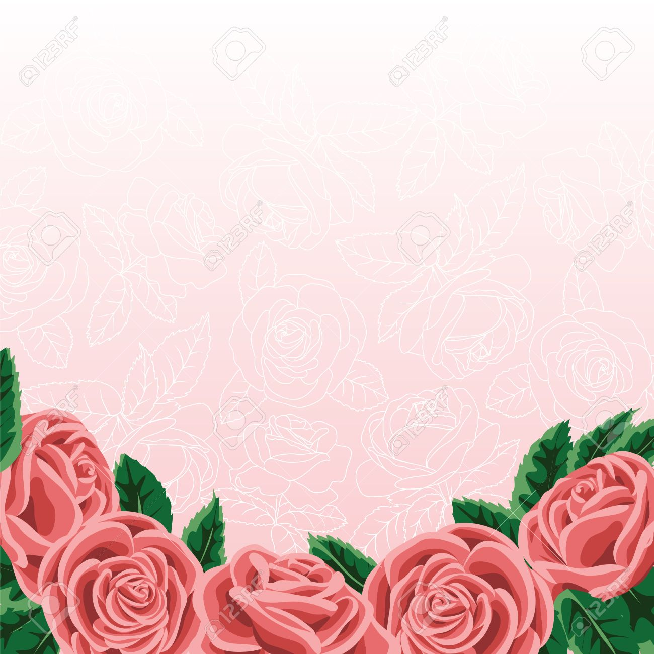 Template For Wedding Invitation Or Greeting Card With Roses – Greeting Card Template