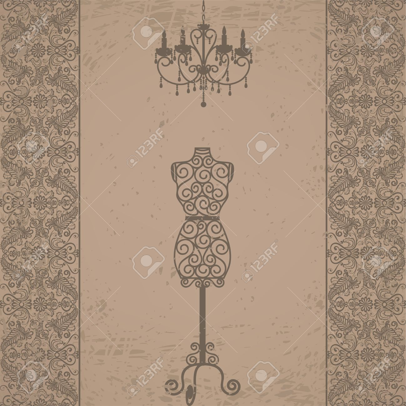 Vintage grunge card with mannequin and chandelier with lace border vector vintage grunge card with mannequin and chandelier with lace border arubaitofo Choice Image