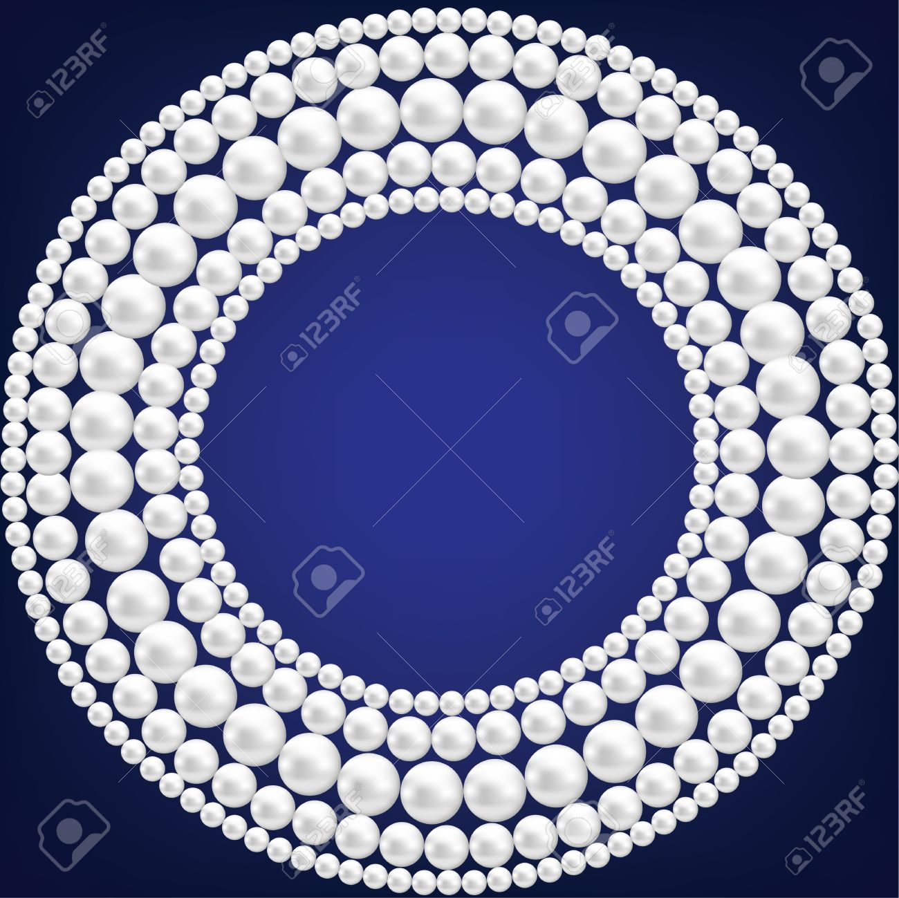 Dark blue background with pearl necklace Stock Vector - 20360494