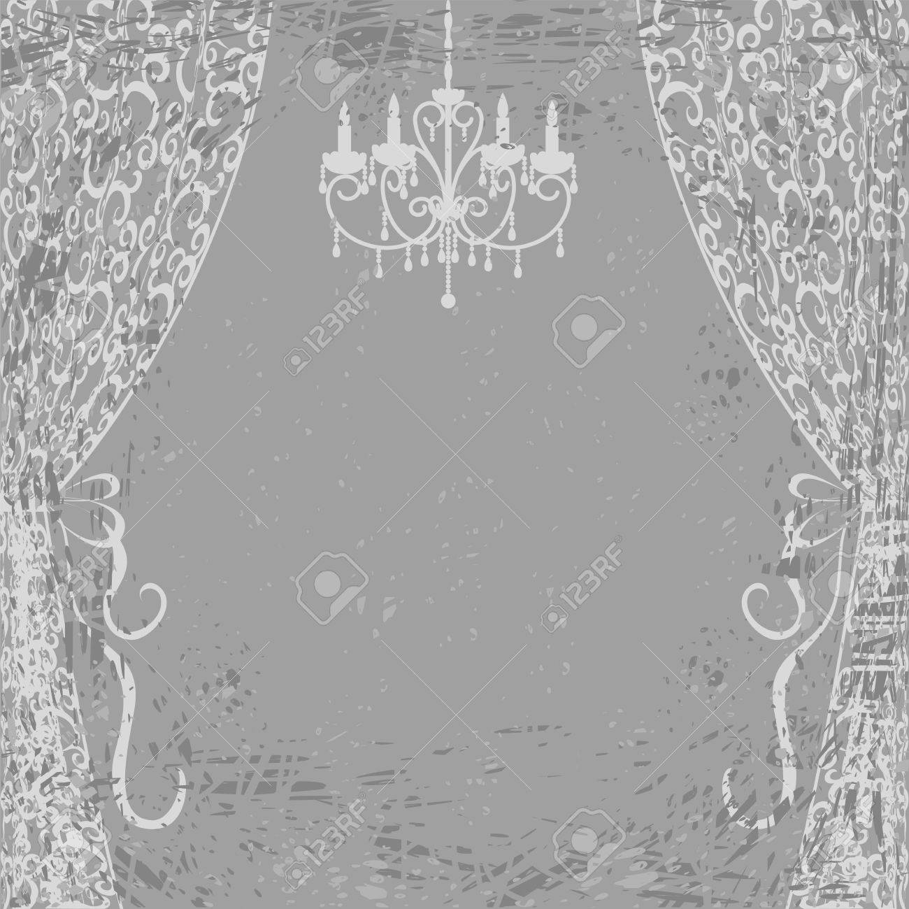 Vintage card with chandelier and curtains on gray grunge background Stock Vector - 20360498