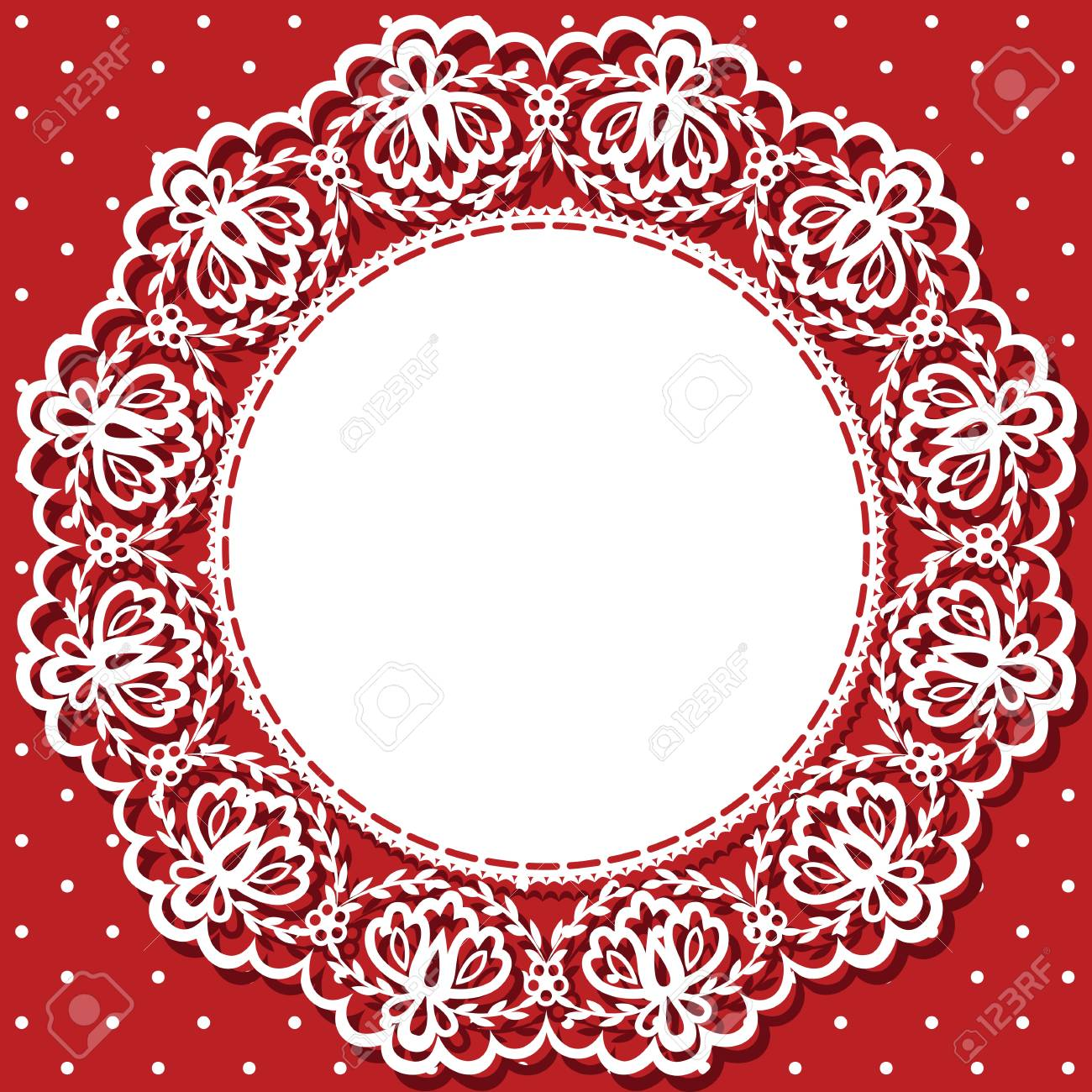 Wedding Invitation Or Greeting Card With Lace And Napkin Royalty ...