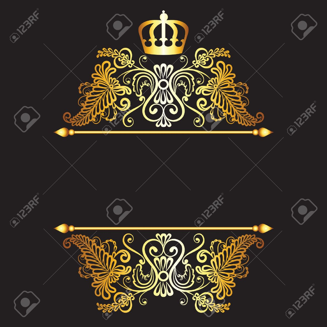 Royal pattern with crown  on dark background Stock Vector - 21570934
