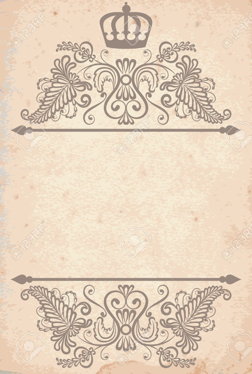 vintage royal frame template on old paper royalty free cliparts