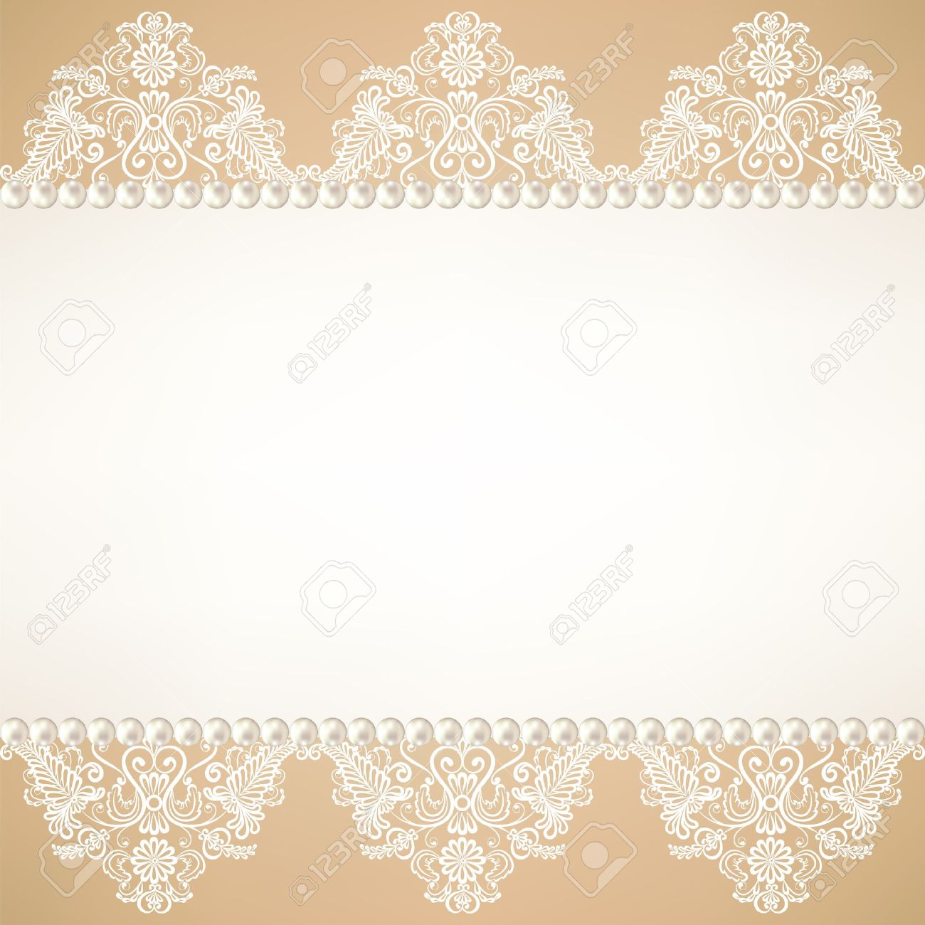 Template For Wedding Invitation Or Greeting Card With Lace Fabric Background Pearls Stock Vector