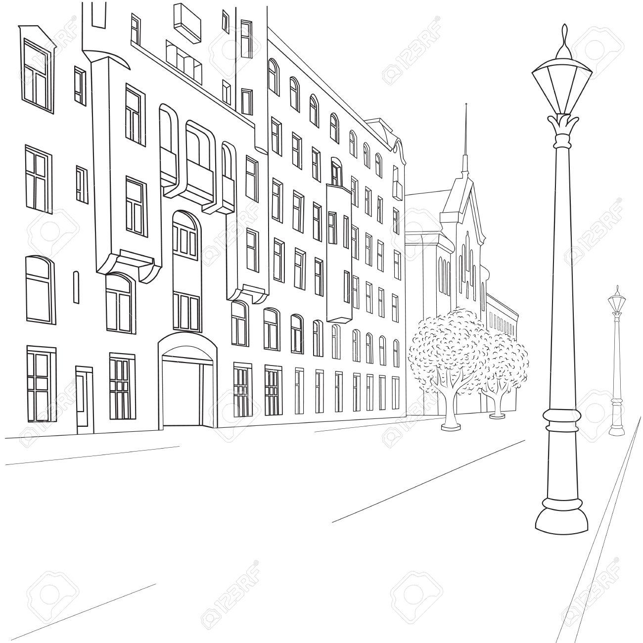 Outline sketch of european city street Stock Vector - 22020629