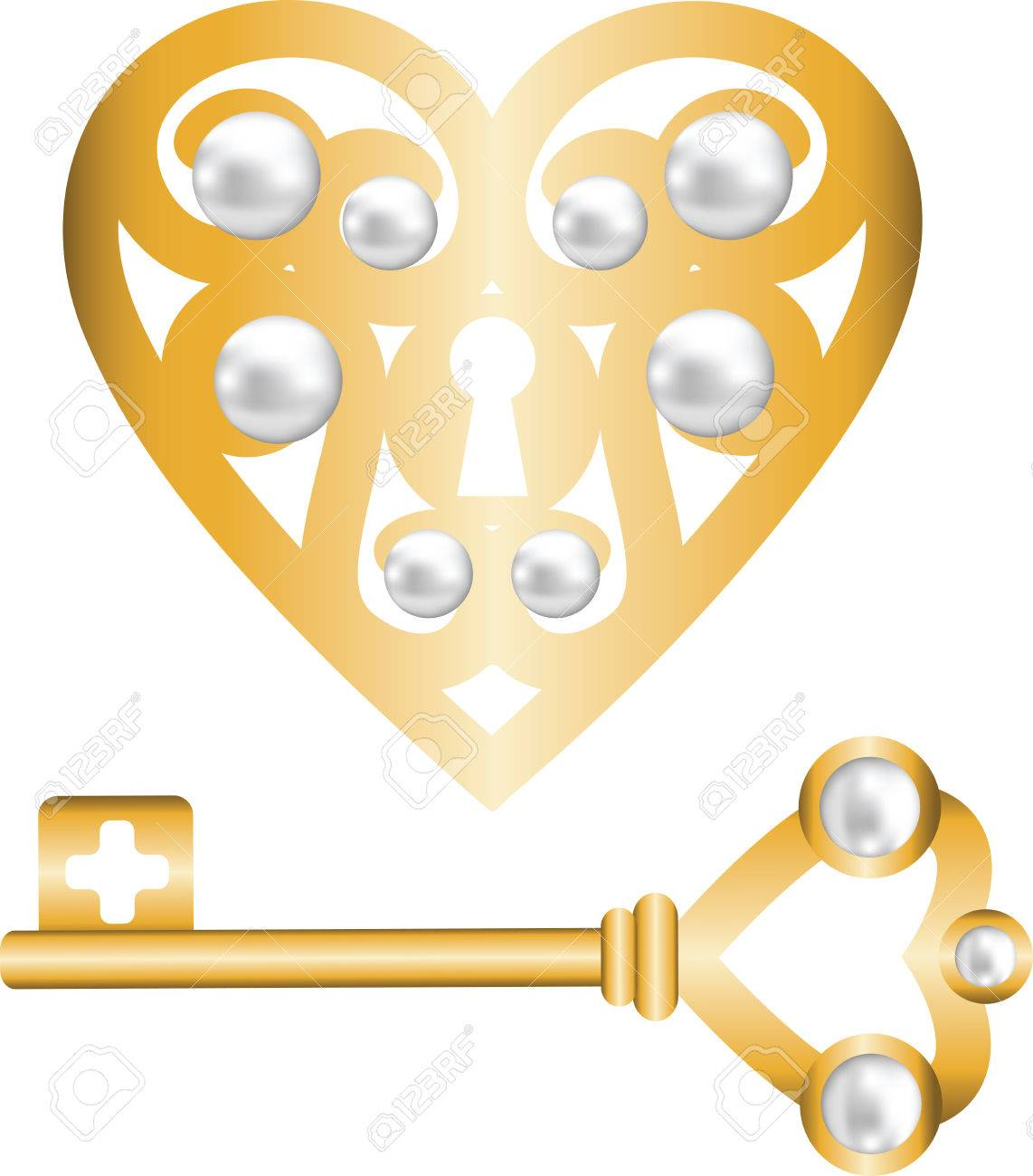 gold skeleton key and lock shaped heart Stock Vector - 22553356