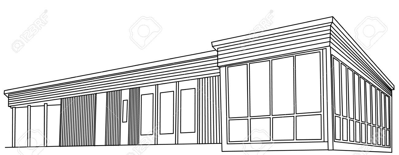 banque dimages dessin vectoriel croquis de maison moderne en bois - Maison Moderne Dessin