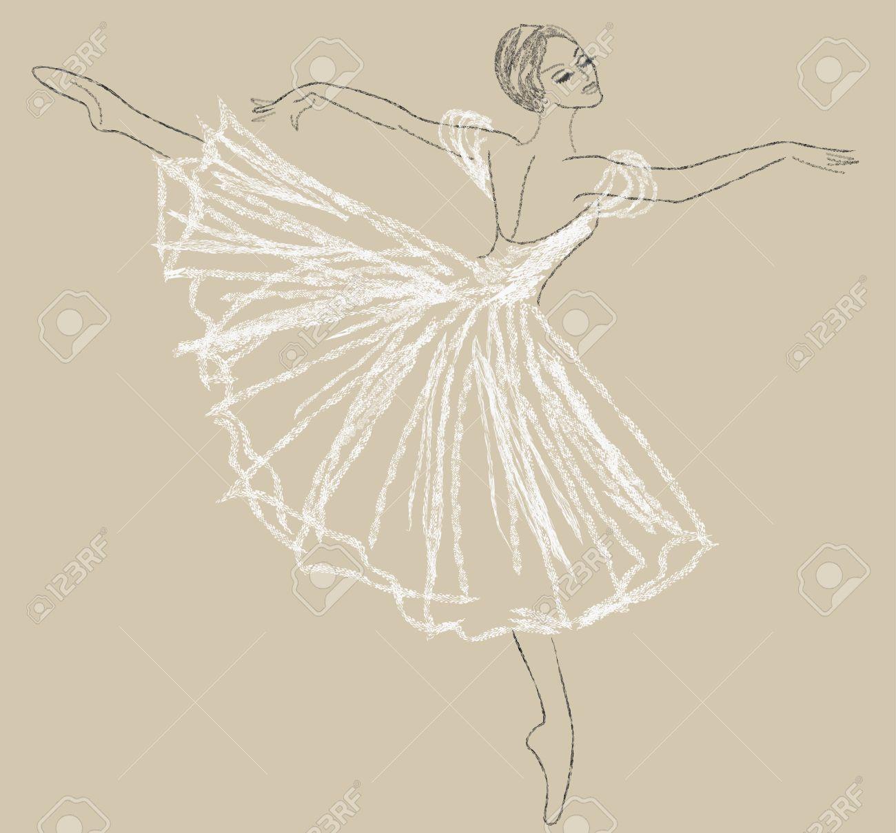 Dibujo A Lápiz Con Bailarina En El Vestido Blanco Ilustraciones