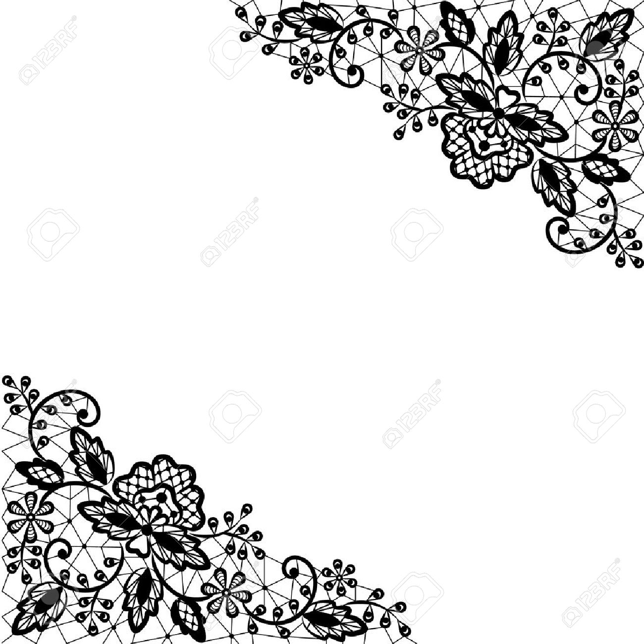 Invitation, Wedding Or Greeting Card With Lace Border Royalty Free ...