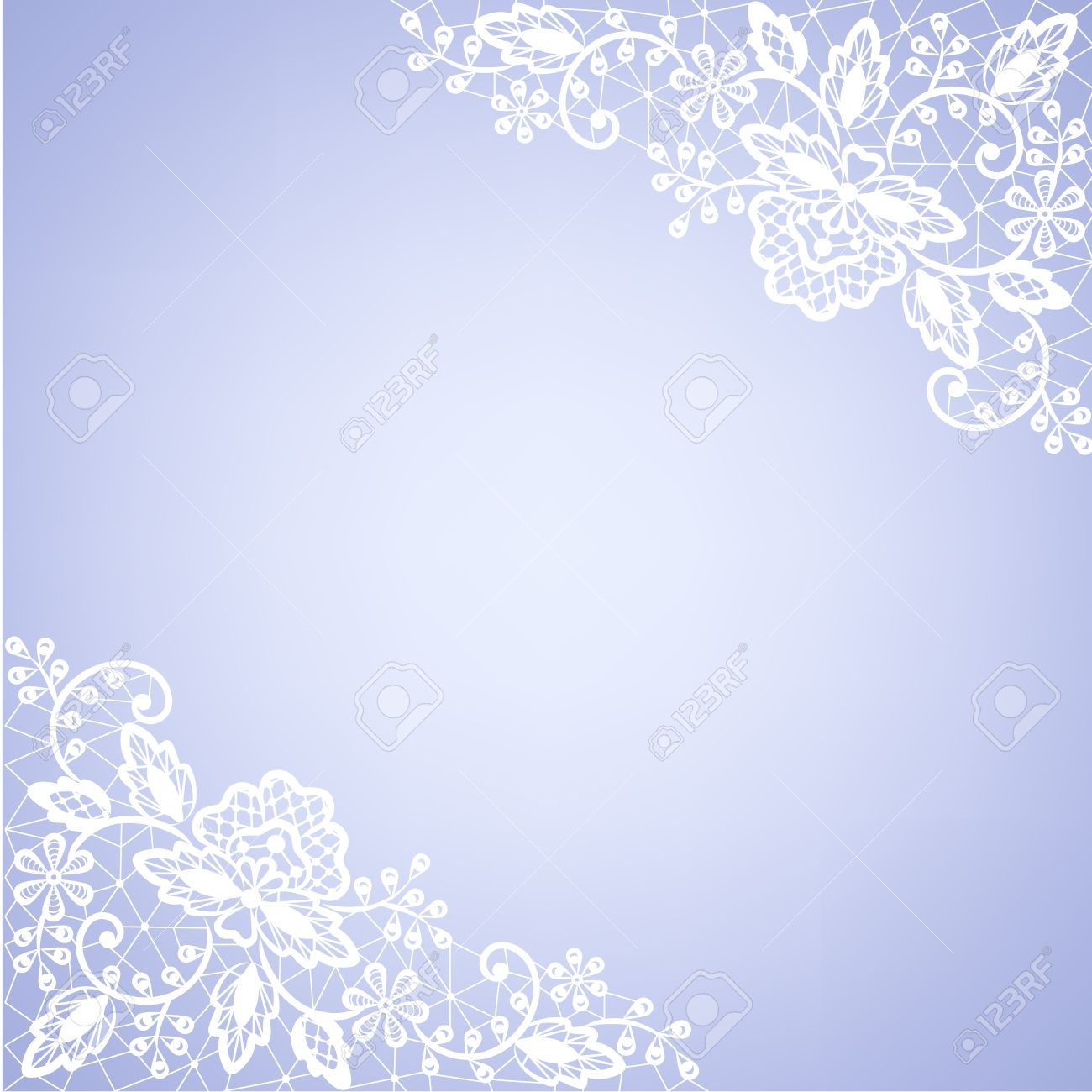 Template For Wedding Invitation Or Greeting Card With Lace Fabric White Frame On Blue Background