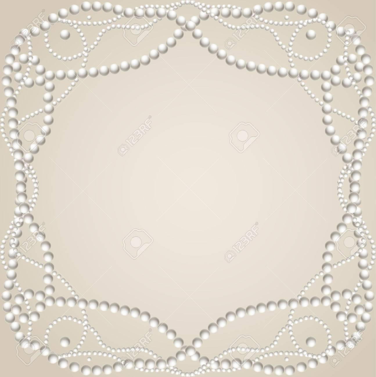 Fondo Beige Con Collar De Perlas Marco De Ilustración Vectorial ...