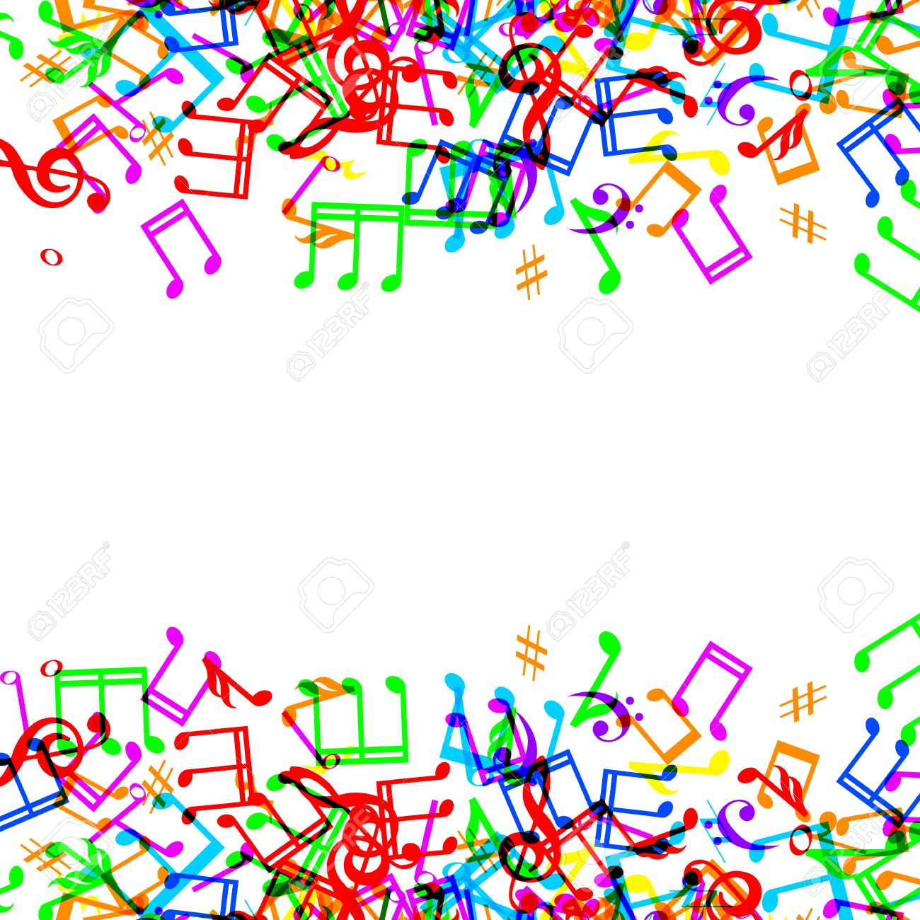 colorful music notes border frame on white background stock vector 30312948 - Music Note Picture Frame