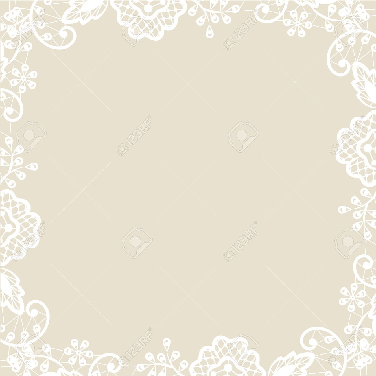 hochzeit einladung oder grusskarte mit weißer spitze auf beigem, Einladung
