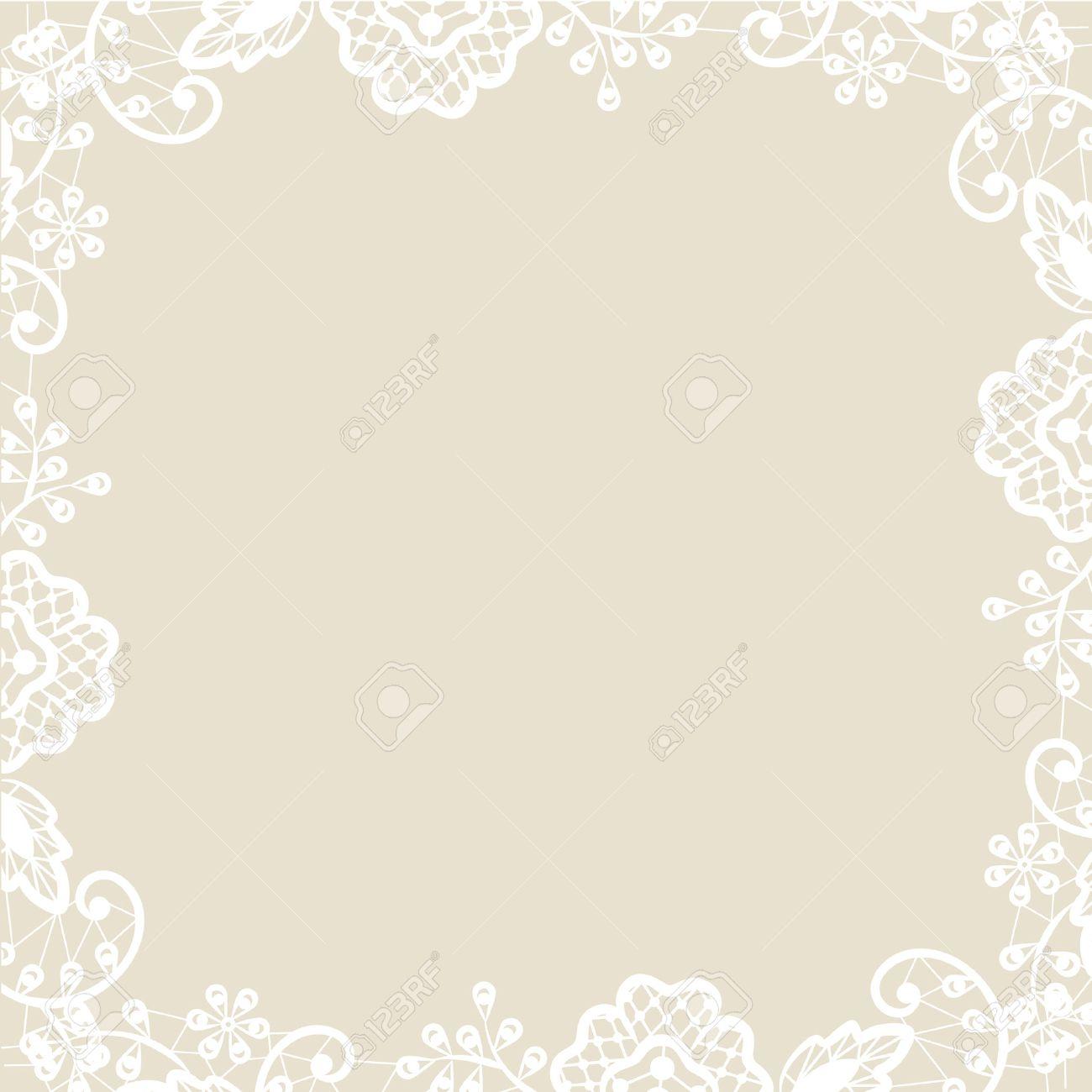 Elegant Hochzeit Einladung Oder Grusskarte Mit Weißer Spitze Auf Beigem Hintergrund  Standard Bild   31700950