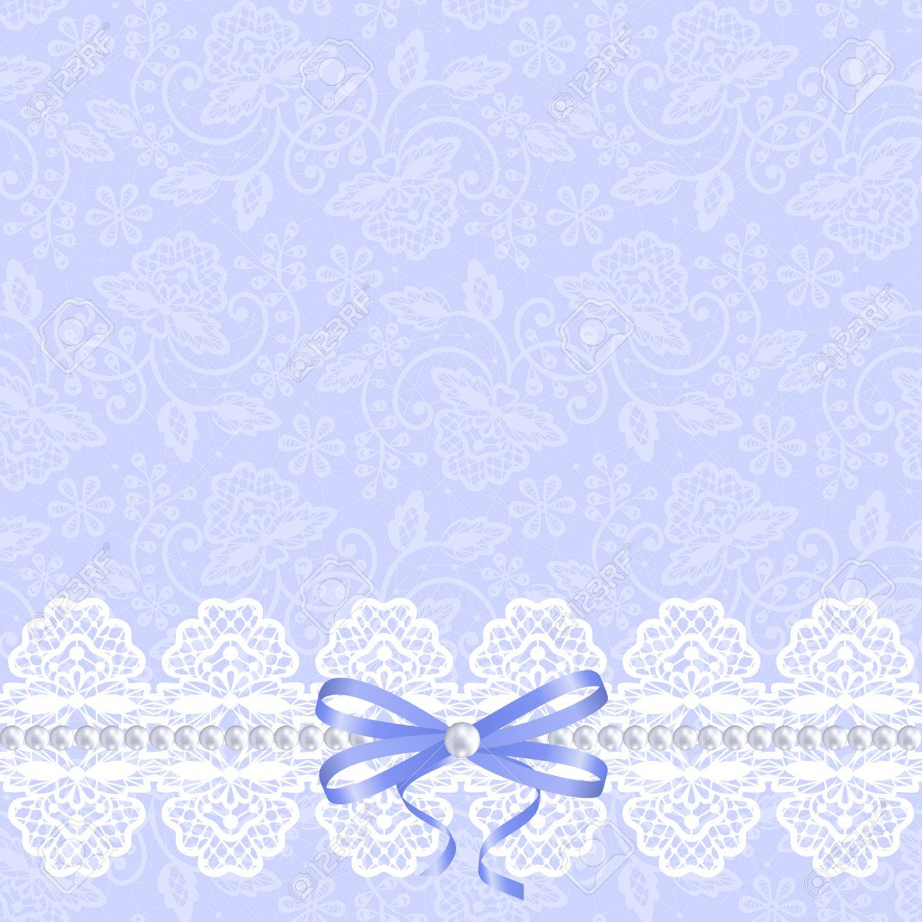 wedding invitation or greeting card with white lace on blue