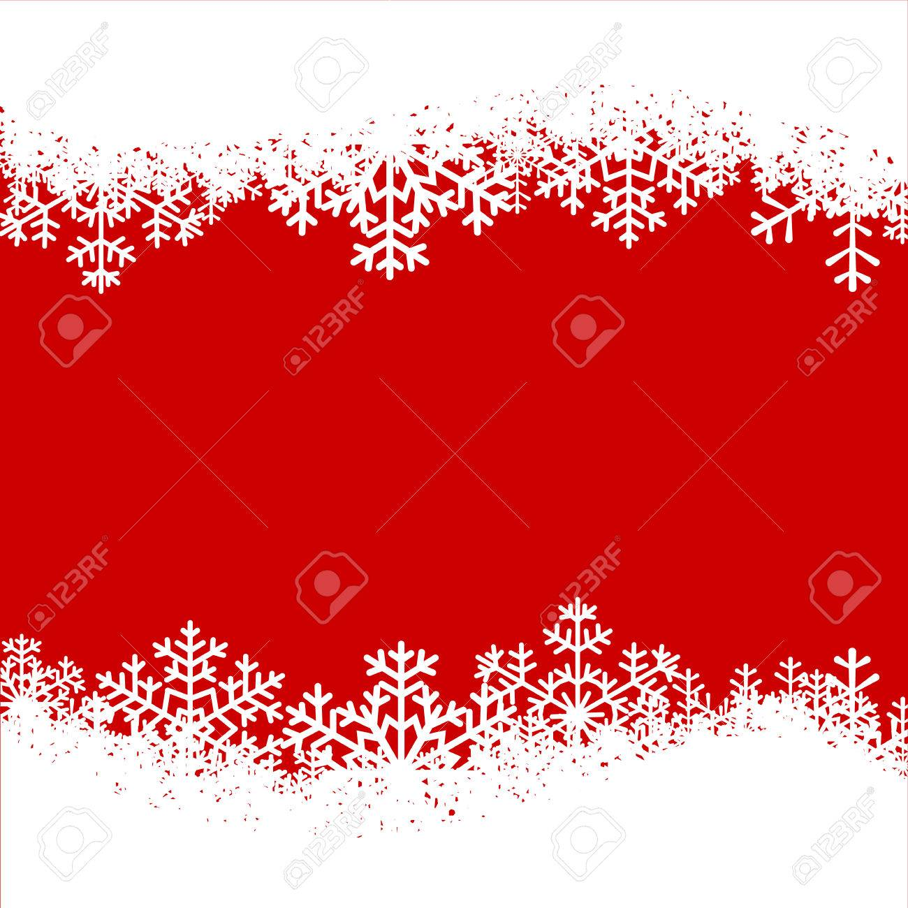 Christmas Card Border.Christmas Card With Snowflakes Border On Red Background