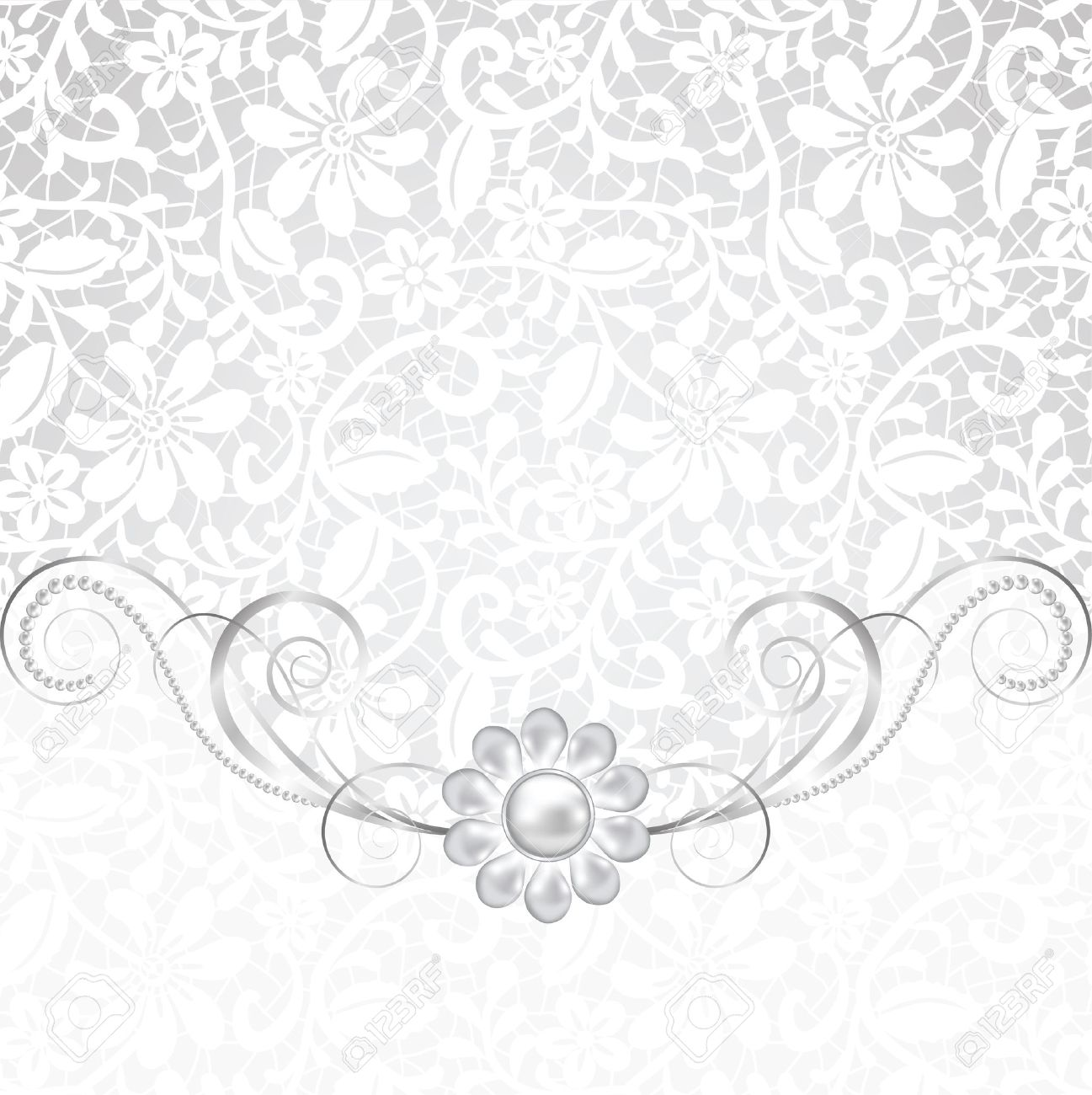 Jewelry Border On White Background. Wedding Invitation Card Royalty ...