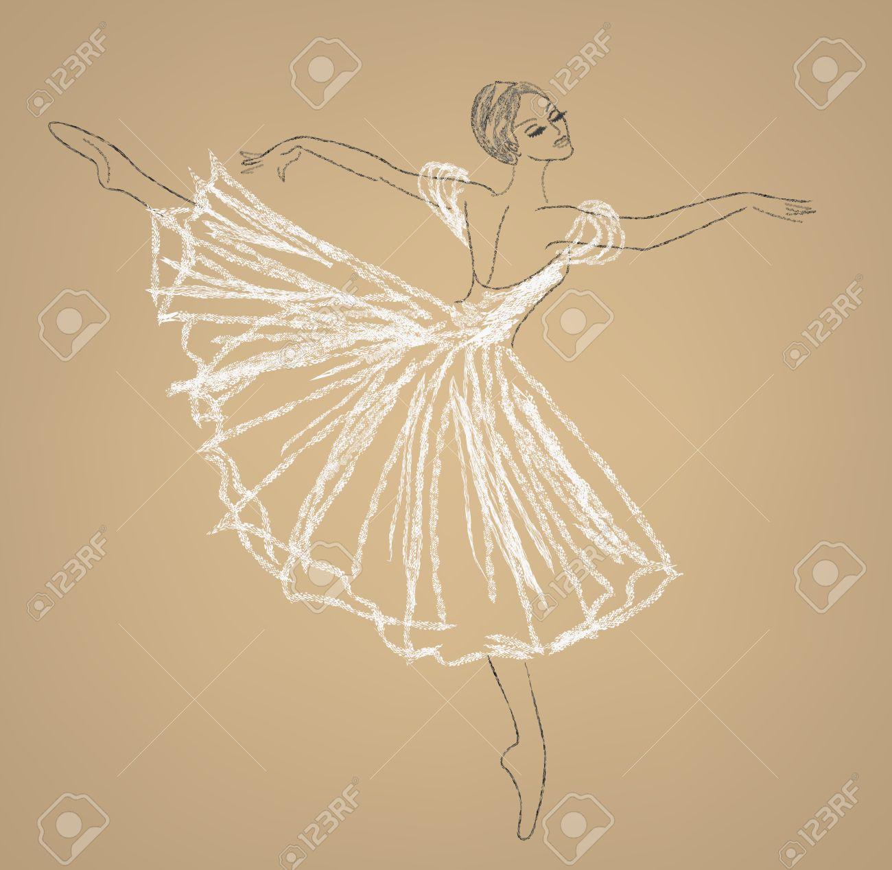 Dibujo A Lápiz De Bailarina En Vestido Blanco Ilustraciones