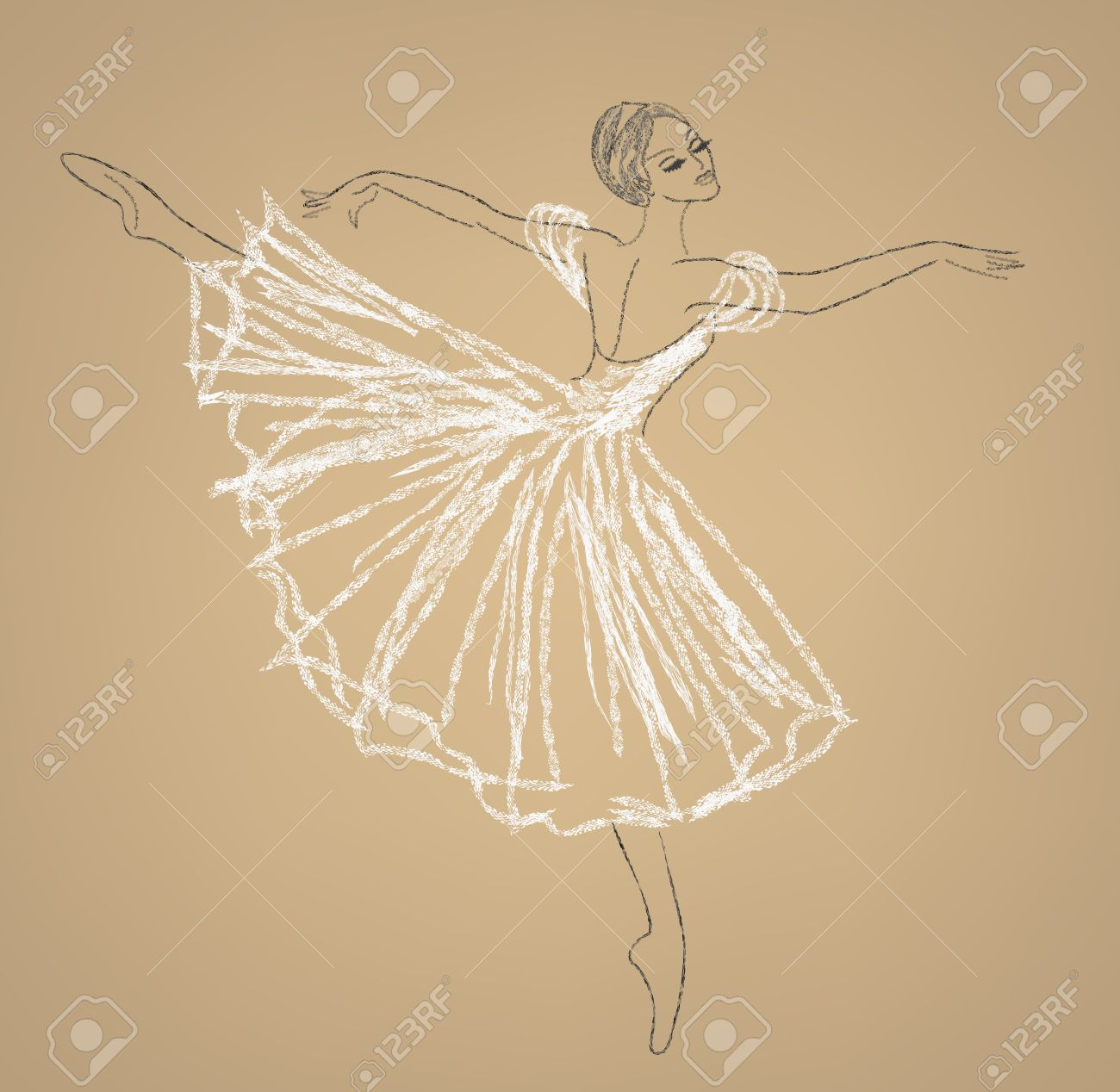 Pencil sketch of dancing ballerina in white dress stock vector 37705662