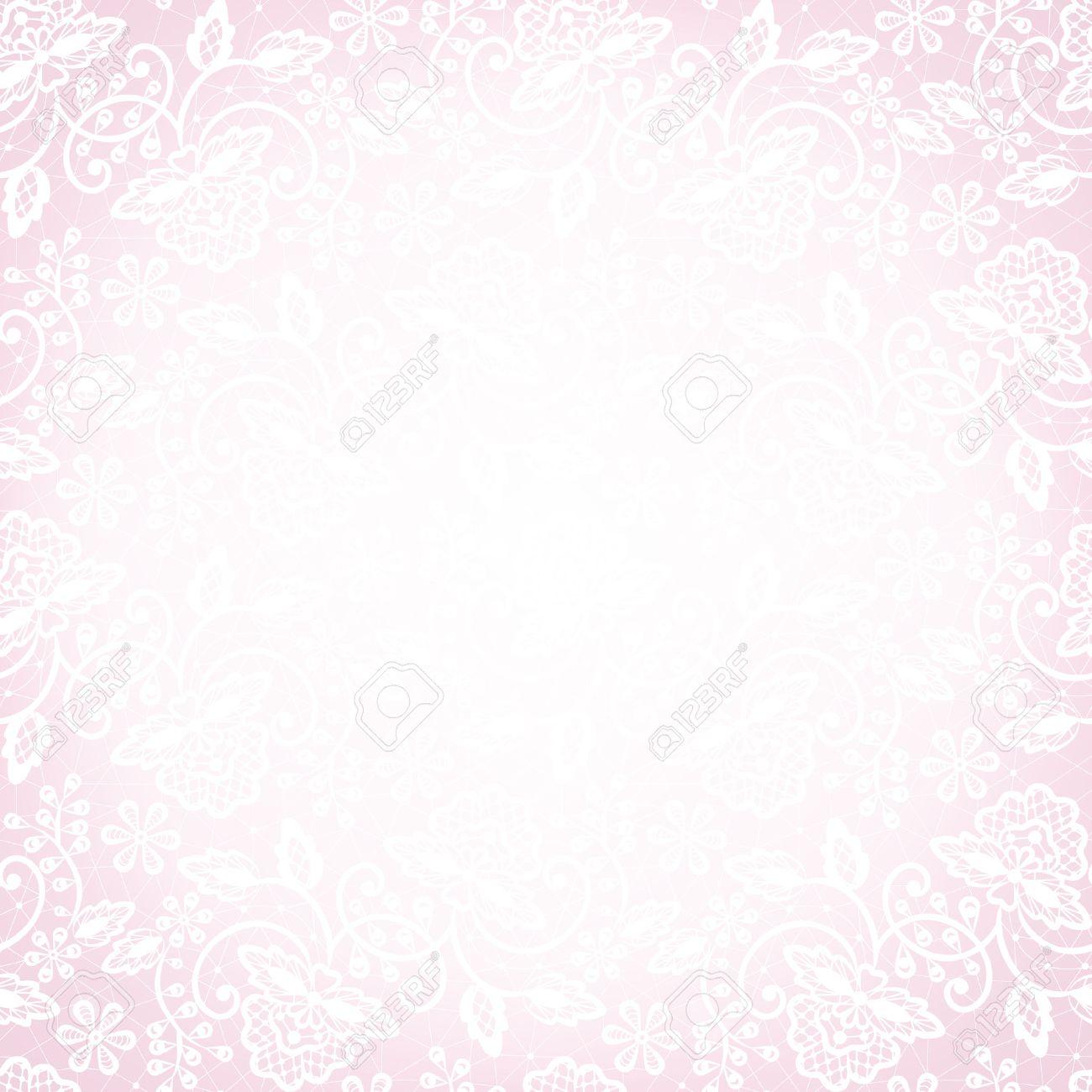 Standard Bild   Vorlage Für Hochzeit, Einladung Oder Grußkarte Mit Weißer  Spitze Auf Rosa Hintergrund