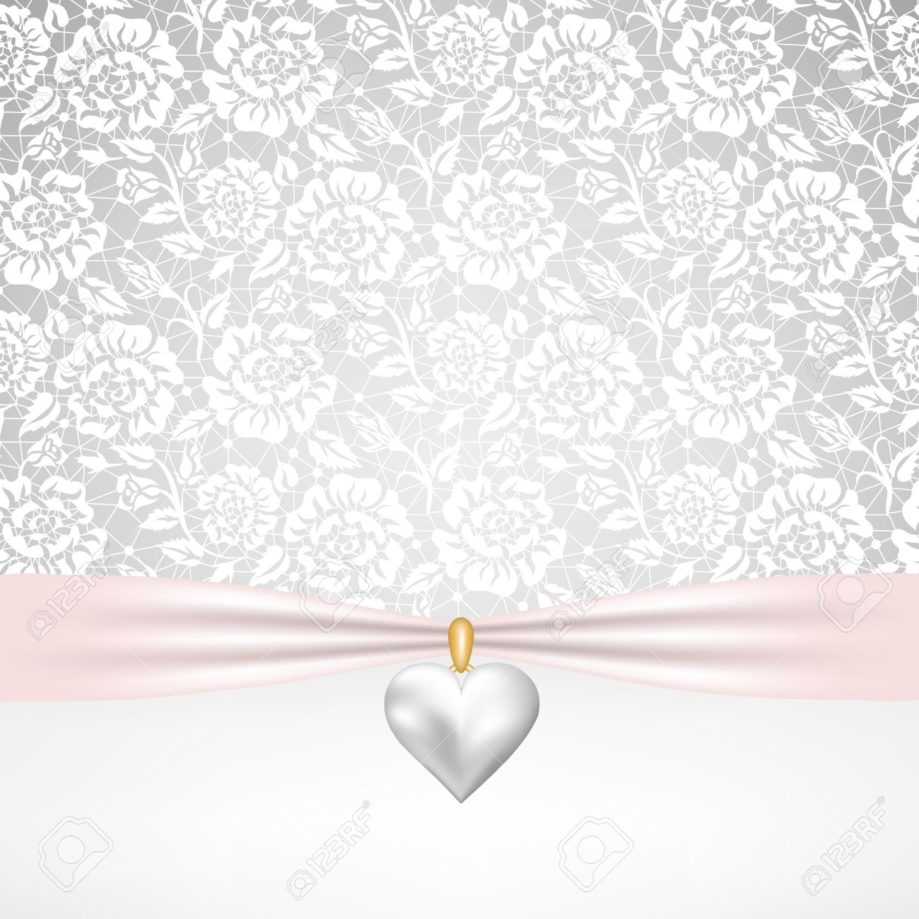 Template for wedding invitation or greeting card with lace fabric template for wedding invitation or greeting card with lace fabric background and pearl heart pendant kristyandbryce Choice Image