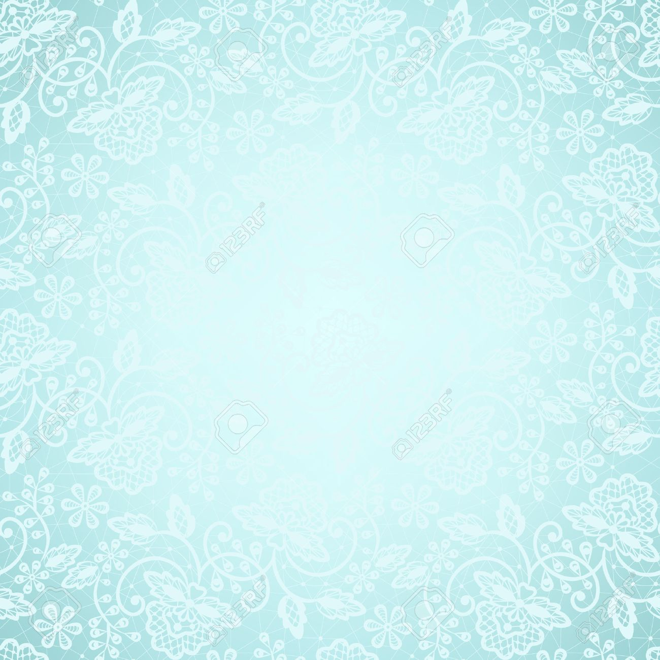 Template For Wedding Invitation Or Greeting Card With White Lace Frame On Blue Background Stock