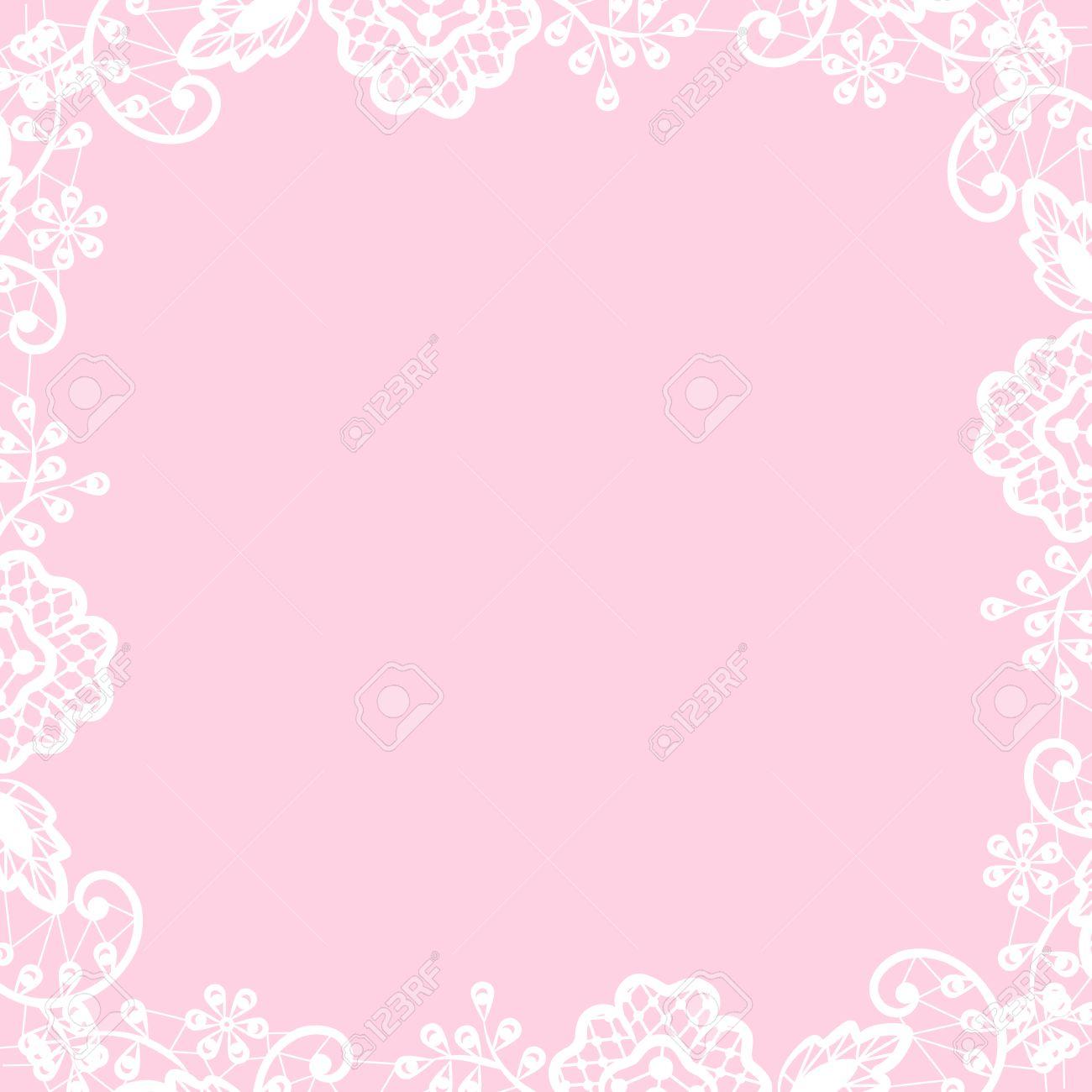 Standard Bild   Vorlage Für Hochzeit, Einladung Oder Grußkarte Mit Weißen  Spitzen Rahmen Auf Rosa Hintergrund