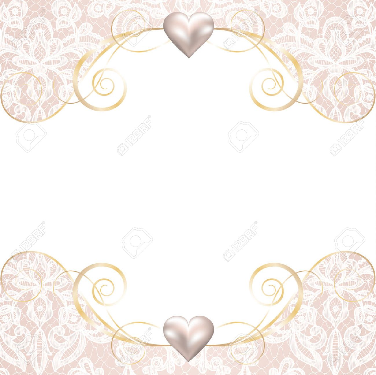 Wedding invitation or greeting card with pearl frame on lace background Stock Vector - 42530165