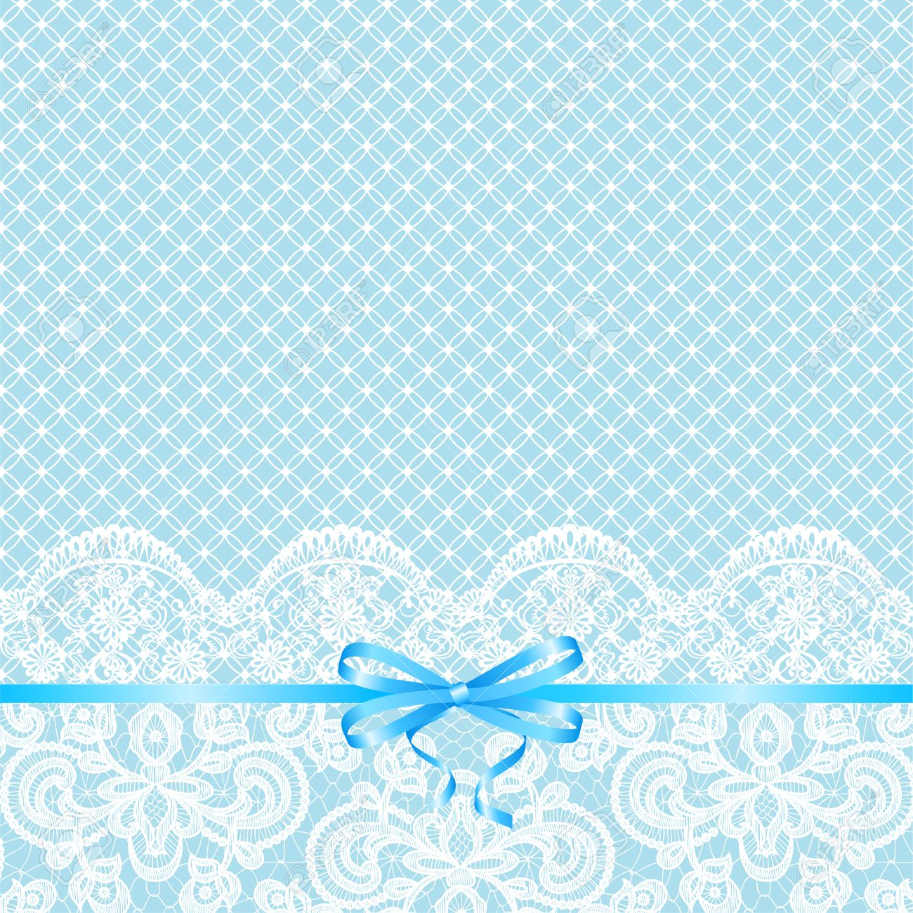 Wedding Invitation Or Greeting Card With Blue Bow On Lace ...