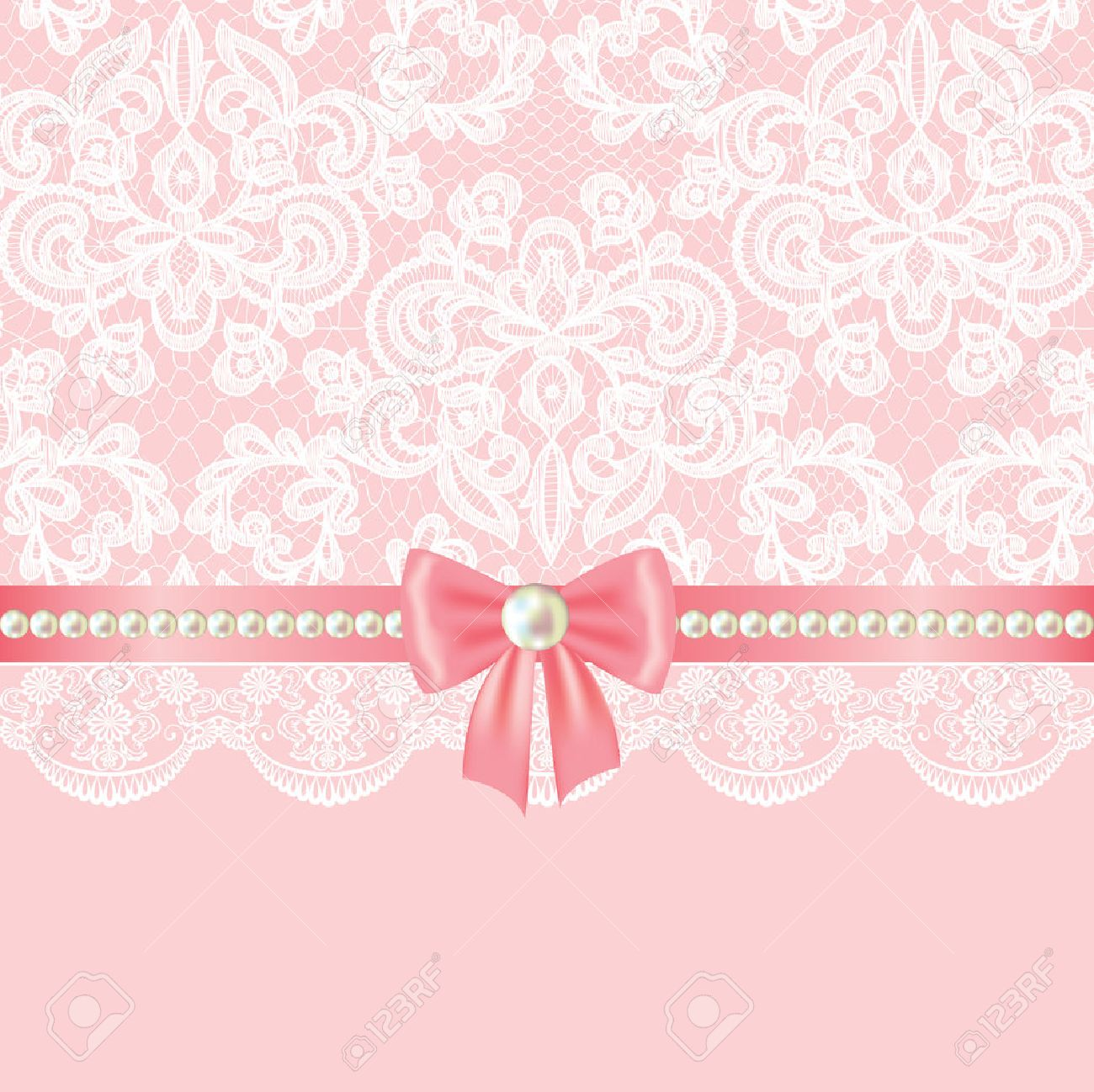 wedding invitation or greeting card with pearl border on lace