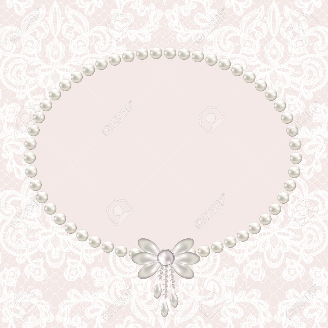 wedding invitation or greeting card with pearl frame on lace