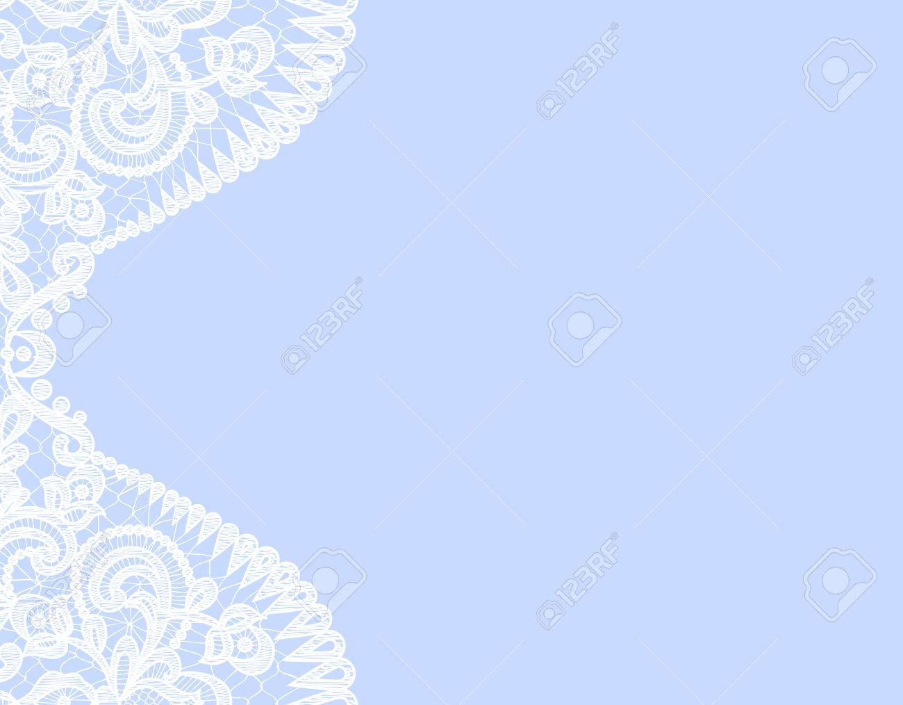Wedding Invitation Or Greeting Card With Lace Border On Blue
