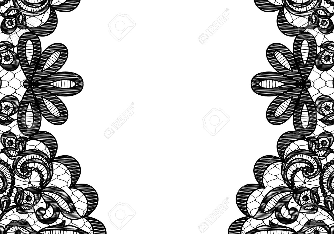 wedding invitation or greeting card with black lace borders on