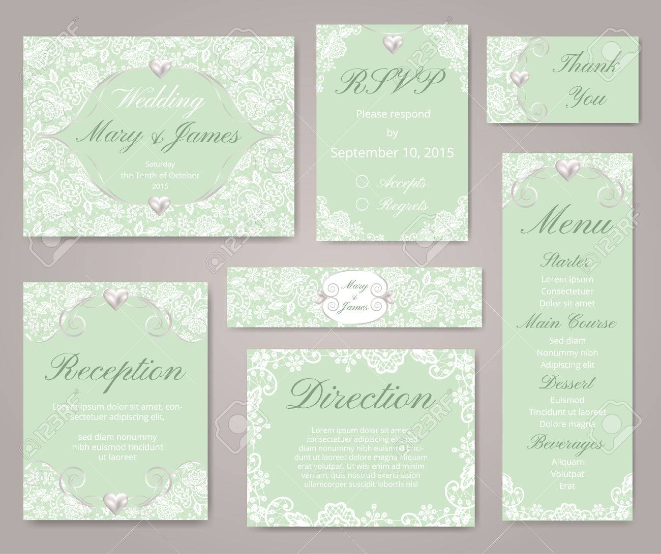 Wedding Invitation Cards With Lace Decorations And Pearl Royalty ...