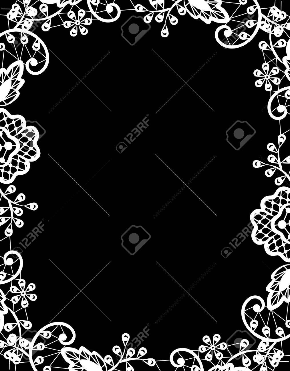 Wedding invitation or greeting card with white lace on black vector wedding invitation or greeting card with white lace on black background m4hsunfo
