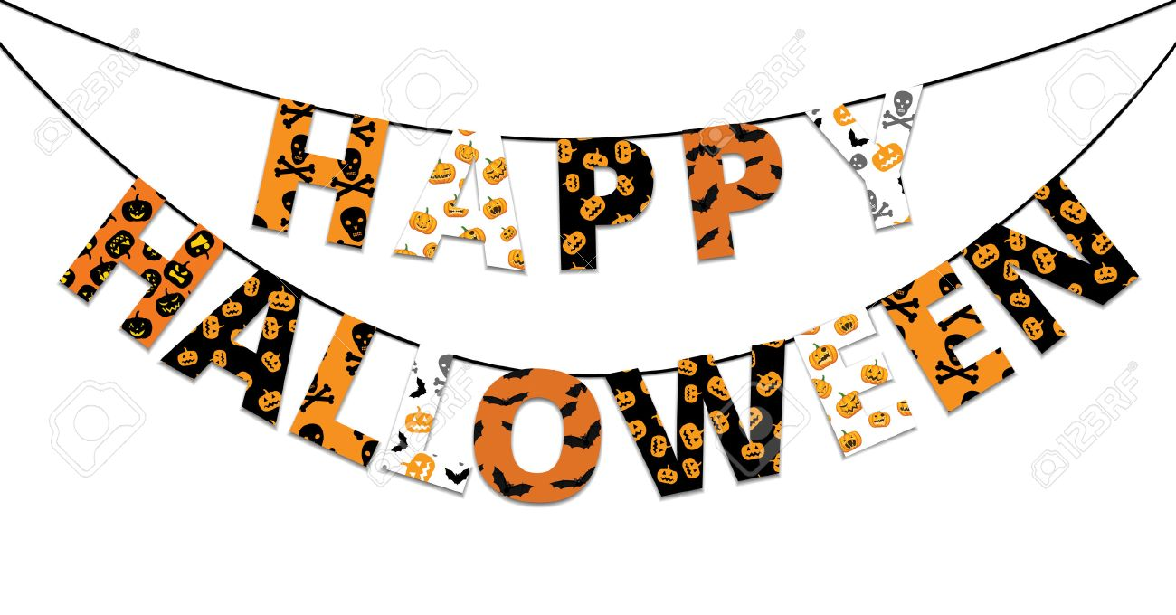 orange, halloween et la bannière noire avec des salutations happy