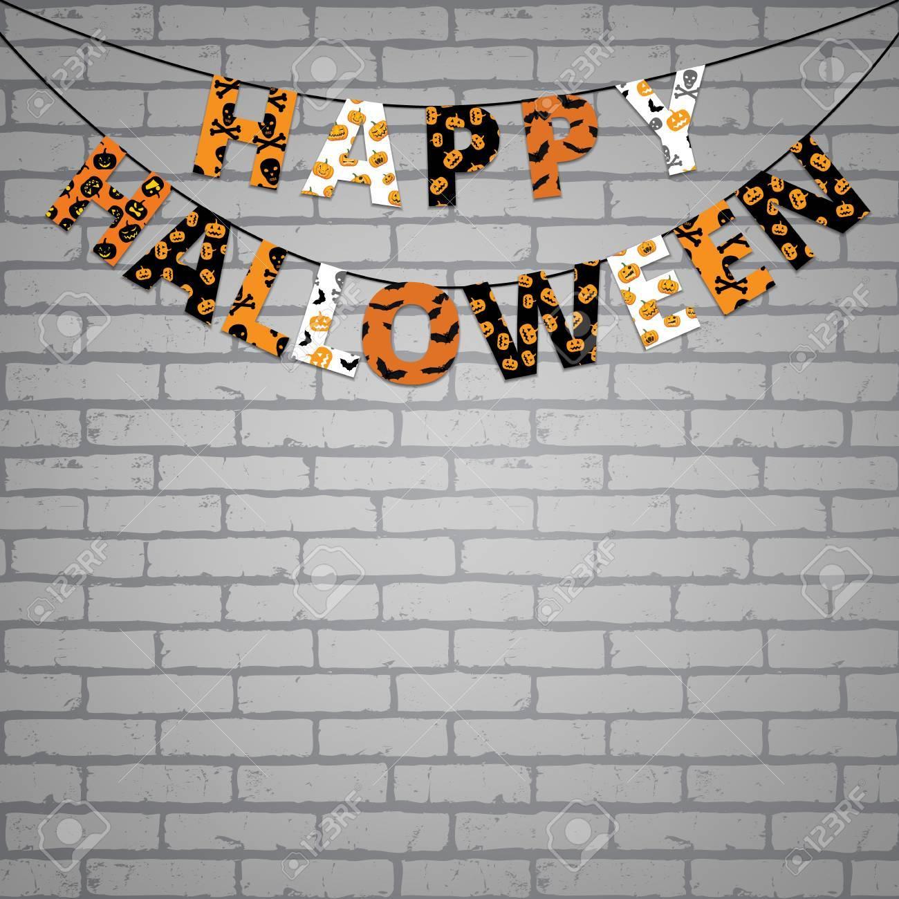 orange, halloween et la bannière noire avec salutations happy