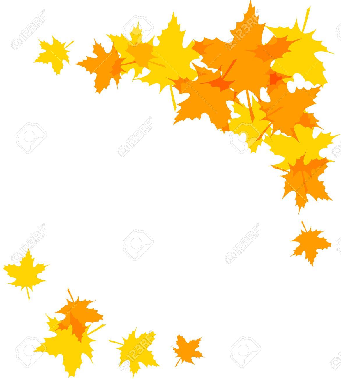 紅葉の飾り枠が白で隔離クリップアートのイラスト素材ベクタ Image