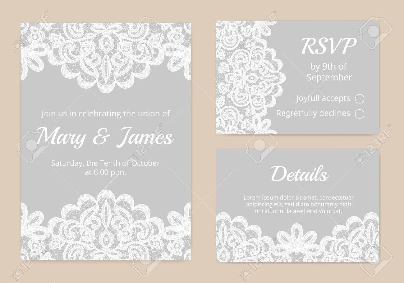 Templates of invitation lace cards for wedding - 45934985