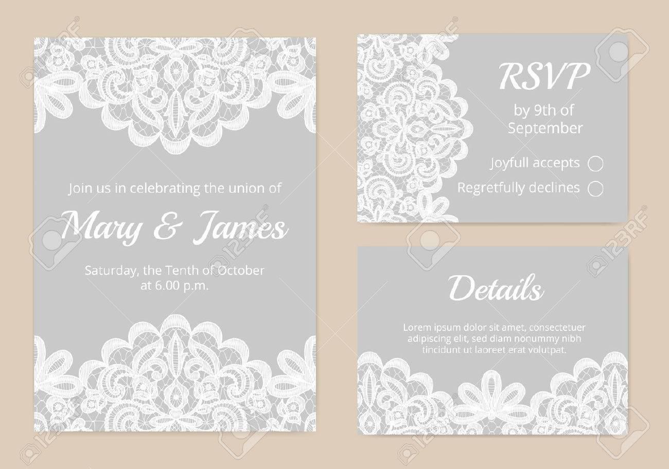 Vorlagen Einladungskarten Für Hochzeit Spitze Lizenzfreie Bilder 45934985
