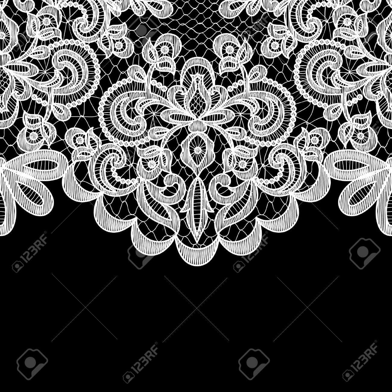 Wedding invitation or greeting card with lace border on black vector wedding invitation or greeting card with lace border on black background stopboris Images