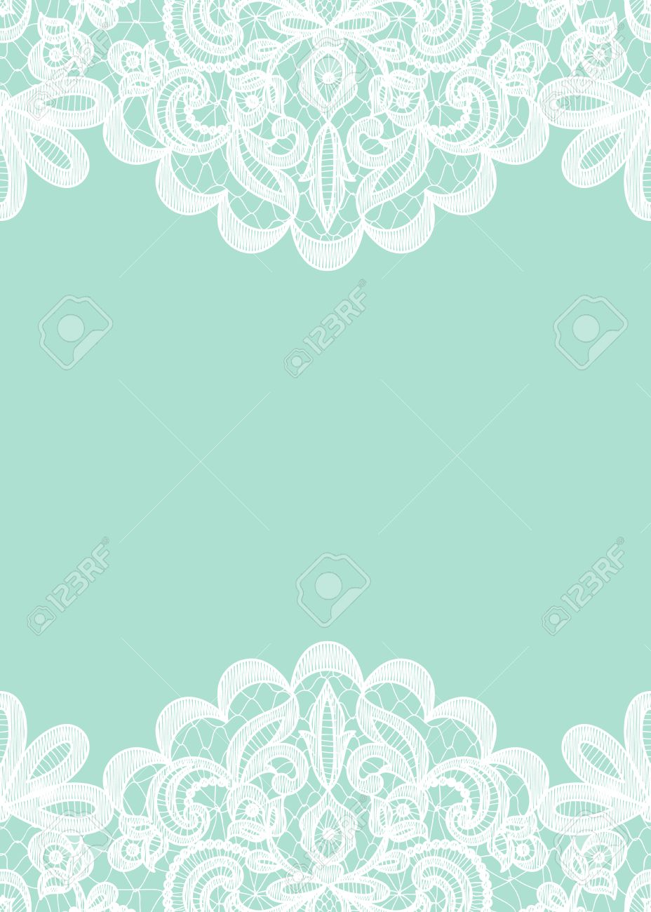 Wedding Invitation Or Greeting Card With Lace Border Isolated