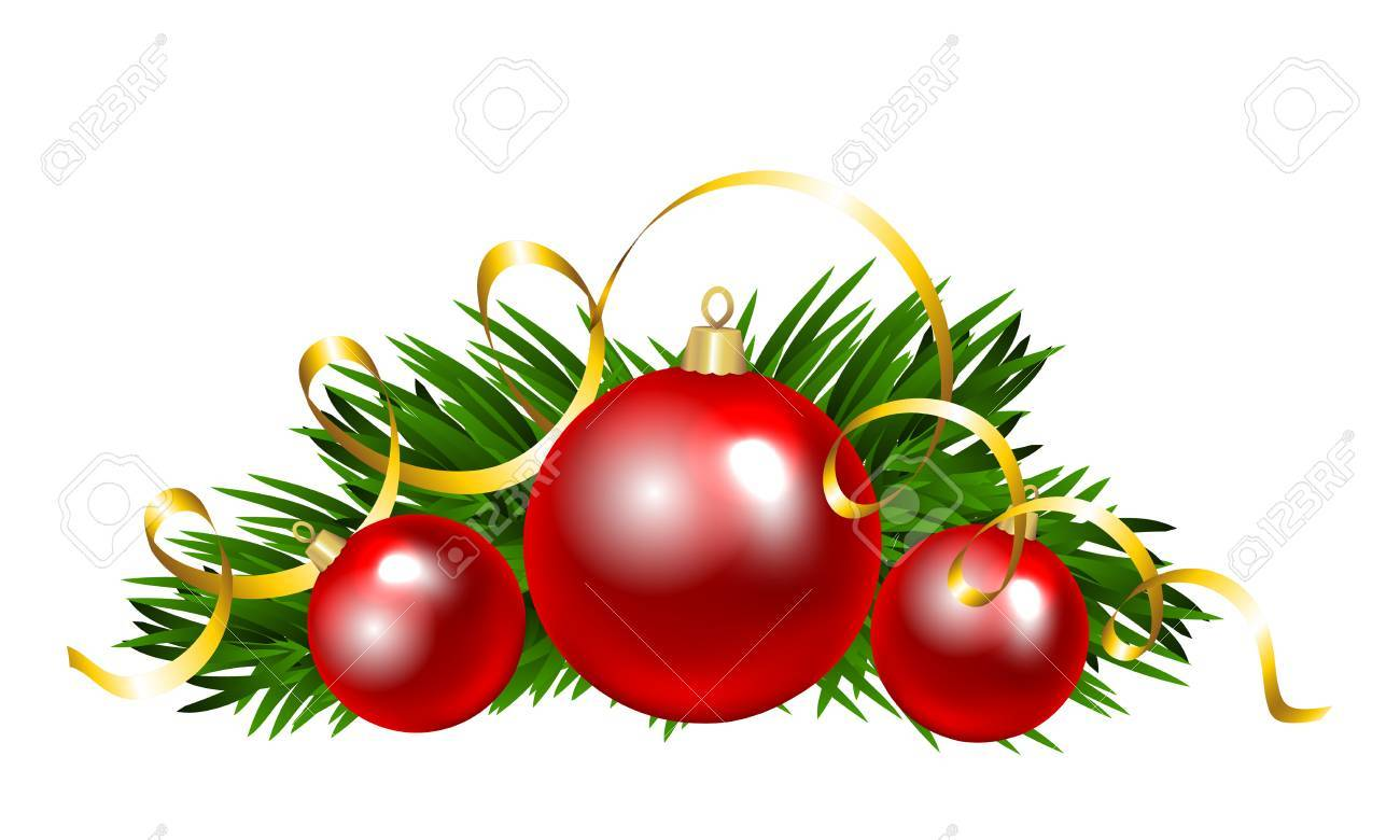 Christmas Balls With Fir Tree Branch Clip Art Royalty Free Cliparts Vectors And Stock Illustration Image 48014052
