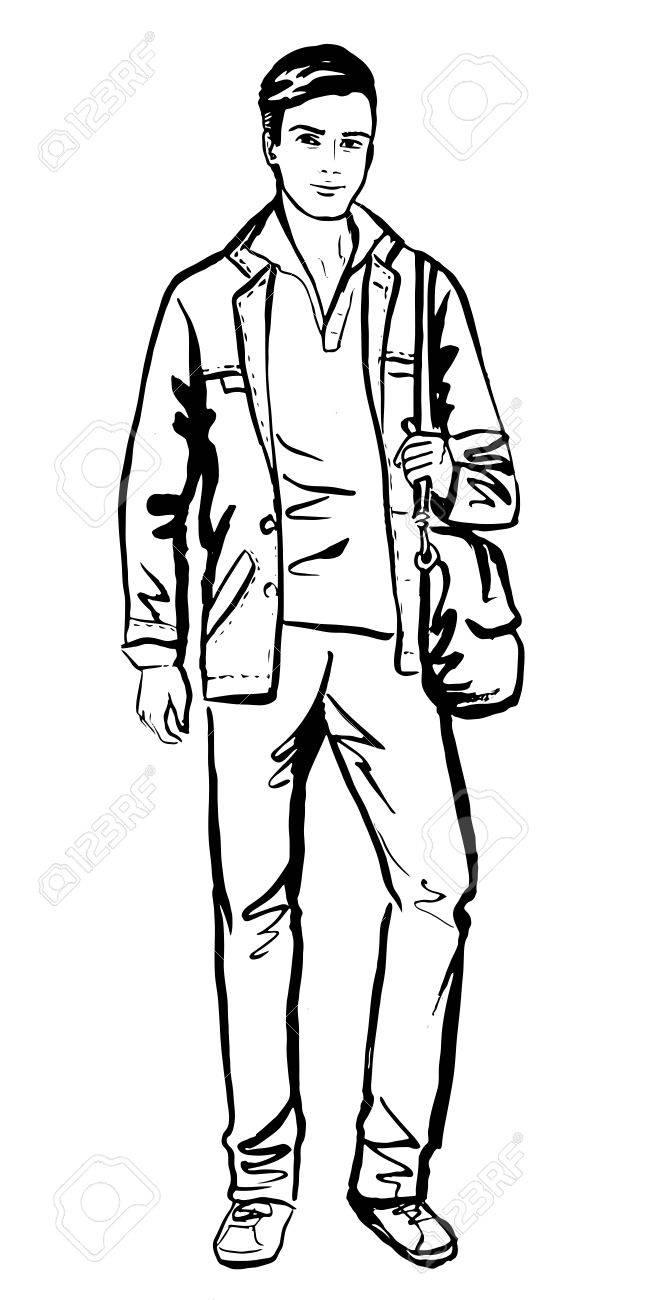 Fashion sketch of man walking on street stock vector 48014055