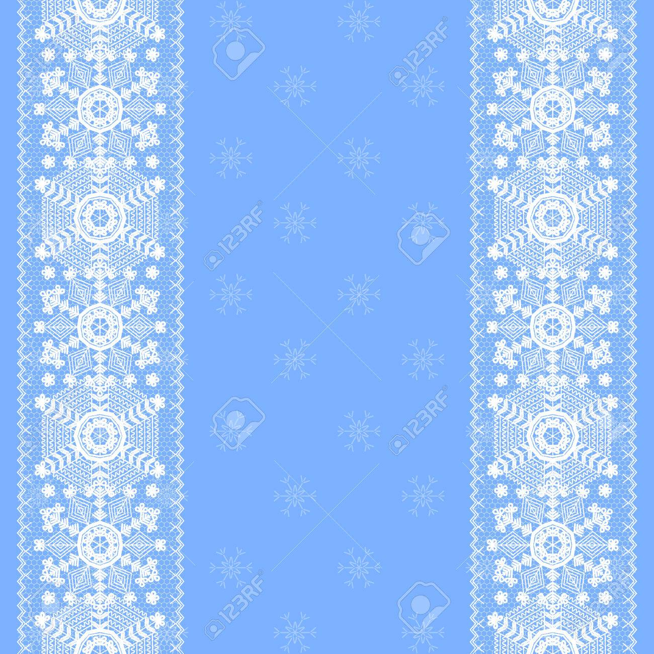christmas card with lace snowflakes pattern border on blue