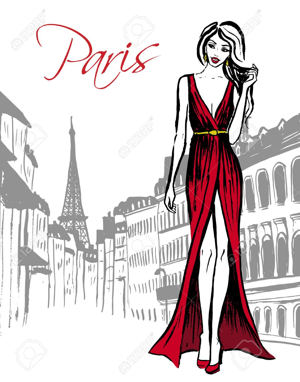 mode-illustration der frau im roten abendkleid zu fuß auf der straße von  paris. hand gezeichnet tinte skizze.