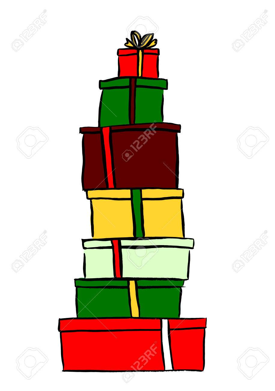 Weihnachtsgeschenke Clipart.Stack Of Christmas Gifts Ink Hand Drawn Sketch Isolated N White